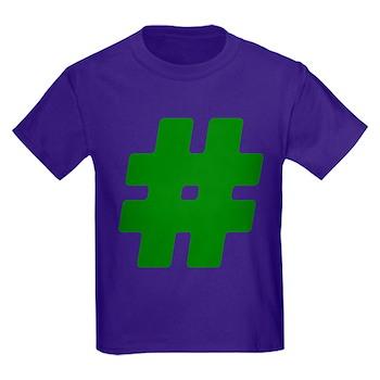Green #Hashtag Kids Dark T-Shirt