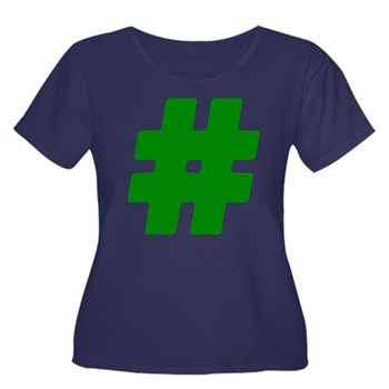 Green #Hashtag Women's Dark Plus Size Scoop Neck T