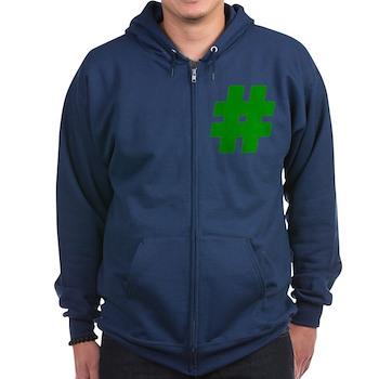 Green #Hashtag Dark Zip Hoodie