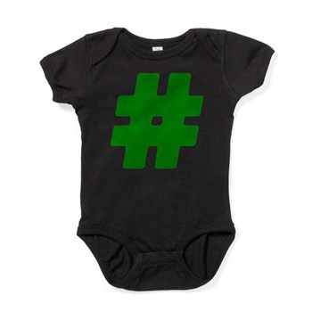 Green #Hashtag Baby Bodysuit