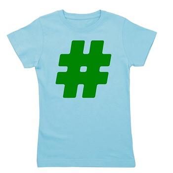 Green #Hashtag Girl's Dark Tee
