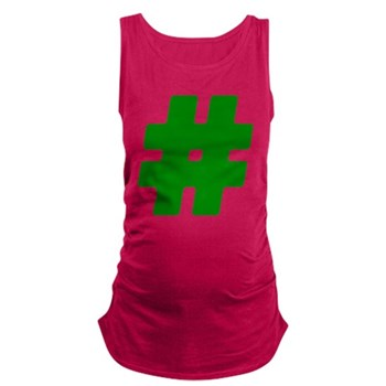 Green #Hashtag Maternity Tank Top