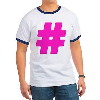 Hot Pink #Hashtag Ringer T-Shirt