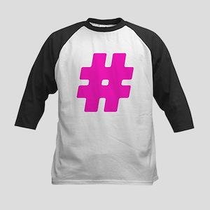 Hot Pink #Hashtag Kids Baseball Jersey