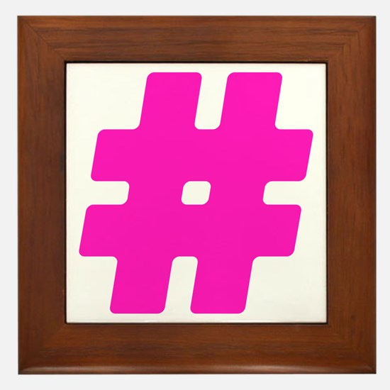 Hot Pink #Hashtag Framed Tile