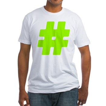 Neon Green #Hashtag Fitted T-Shirt