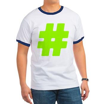 Neon Green #Hashtag Ringer T-Shirt