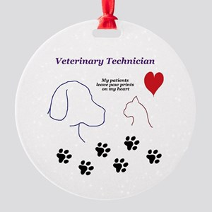 Veterinary Technician-Paw Prints on Round Ornament