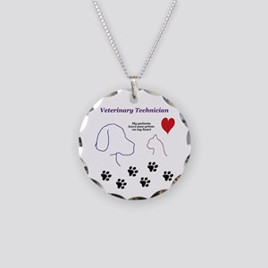 Veterinary Technician-Paw Pr Necklace Circle Charm