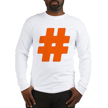 Orange #Hashtag Long Sleeve T-Shirt