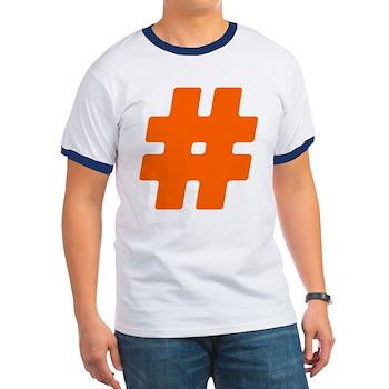 Orange #Hashtag Ringer T-Shirt