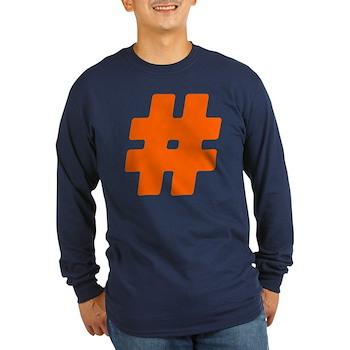 Orange #Hashtag Long Sleeve Dark T-Shirt