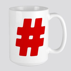Red #Hashtag Large Mug