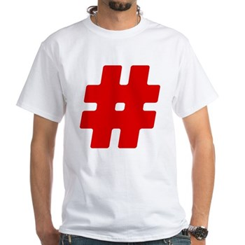 Red #Hashtag White T-Shirt