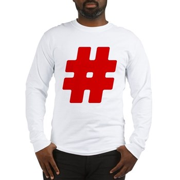 Red #Hashtag Long Sleeve T-Shirt