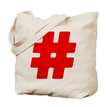 Red #Hashtag Tote Bag