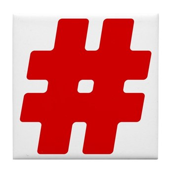 Red #Hashtag Tile Coaster