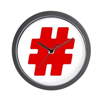 Red #Hashtag Wall Clock