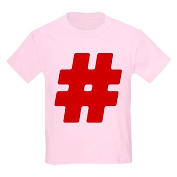 Red #Hashtag Kids Light T-Shirt