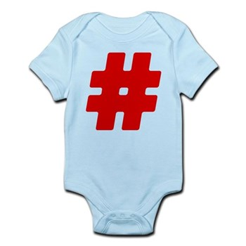 Red #Hashtag Infant Bodysuit