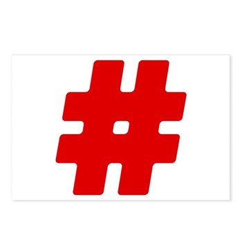 Red #Hashtag Postcards (Package of 8)