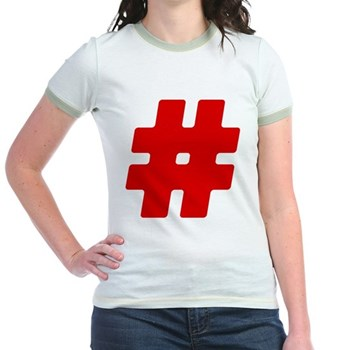 Red #Hashtag Jr. Ringer T-Shirt
