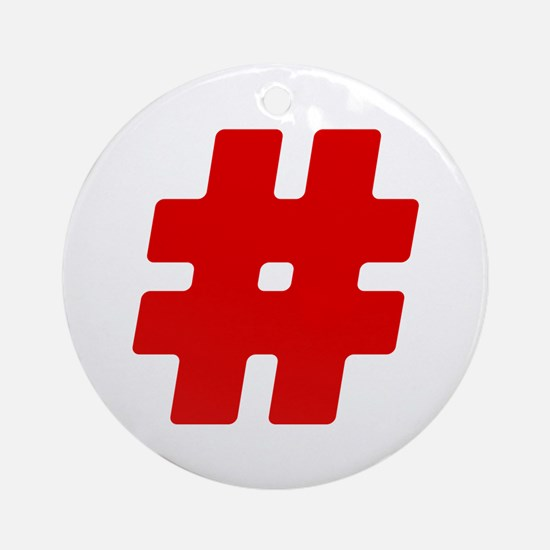 Red #Hashtag Round Ornament