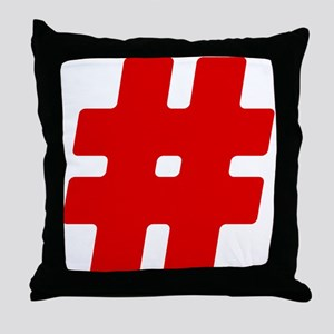 Red #Hashtag Throw Pillow
