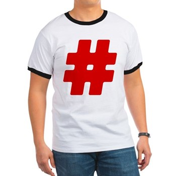 Red #Hashtag Ringer T-Shirt