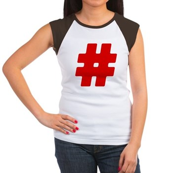 Red #Hashtag Women's Cap Sleeve T-Shirt