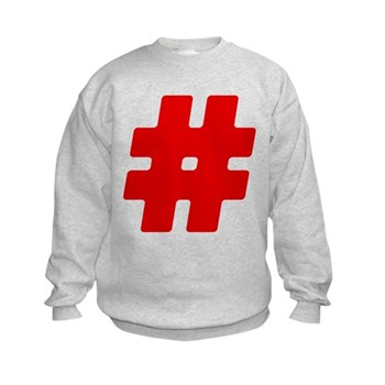 Red #Hashtag Kids Sweatshirt