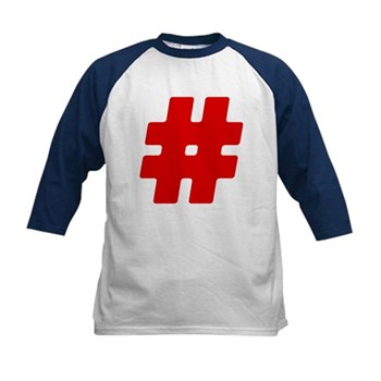 Red #Hashtag Kids Baseball Jersey