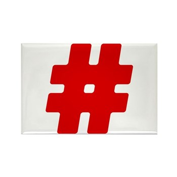 Red #Hashtag Rectangle Magnet (100 pack)