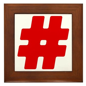 Red #Hashtag Framed Tile