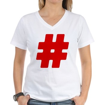 Red #Hashtag Women's V-Neck T-Shirt
