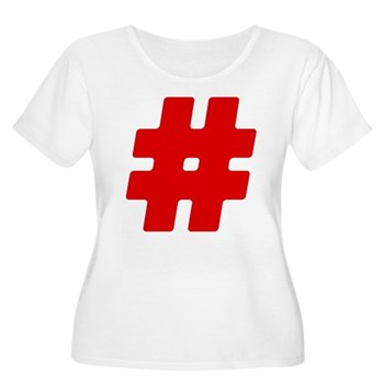 Red #Hashtag Women's Plus Size Scoop Neck T-Shirt