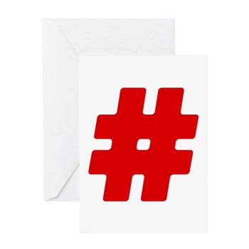 Red #Hashtag Greeting Card