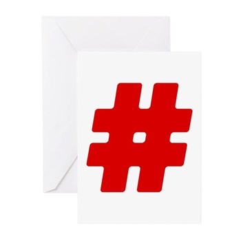 Red #Hashtag Greeting Cards (20 pack)