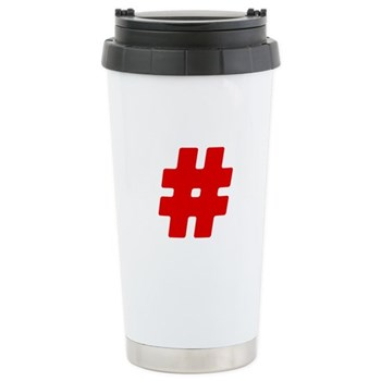 Red #Hashtag Stainless Steel Travel Mug