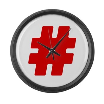 Red #Hashtag Large Wall Clock