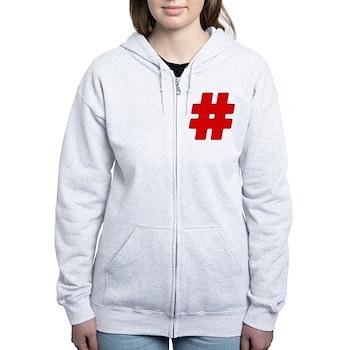 Red #Hashtag Women's Zip Hoodie