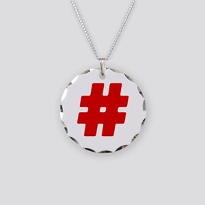 Red #Hashtag Necklace Circle Charm
