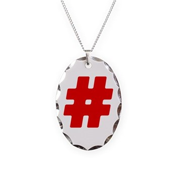 Red #Hashtag Necklace Oval Charm