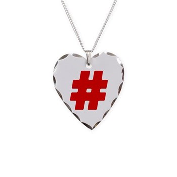 Red #Hashtag Necklace Heart Charm