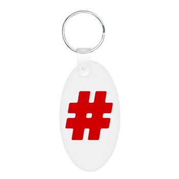 Red #Hashtag Aluminum Oval Keychain