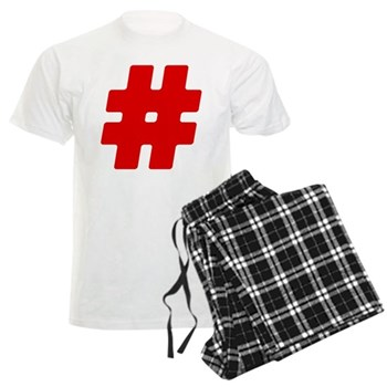Red #Hashtag Men's Light Pajamas