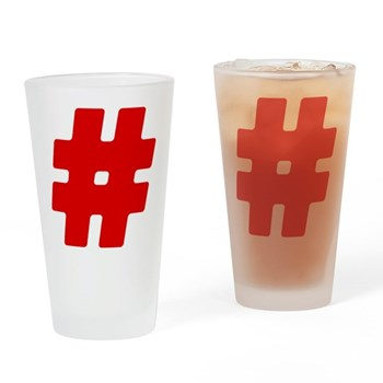 Red #Hashtag Drinking Glass