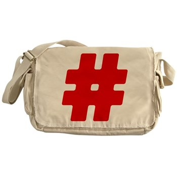 Red #Hashtag Canvas Messenger Bag