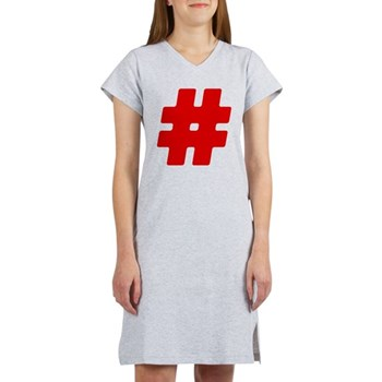 Red #Hashtag Women's Nightshirt