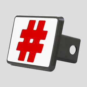 Red #Hashtag Rectangular Hitch Cover